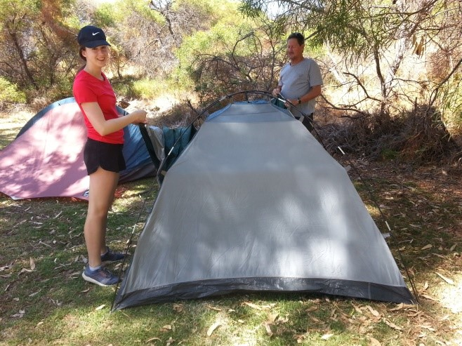 Putting up a tent